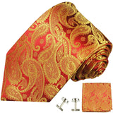 Red and Gold Paisley Silk Necktie Set by Paul Malone Paul Malone Ties - Paul Malone.com