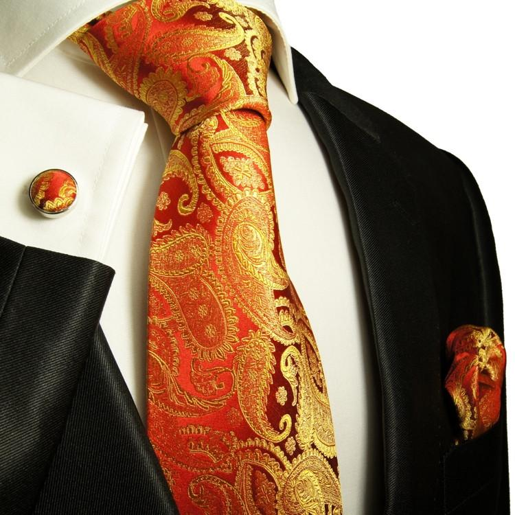 Coral Red Mens Tie with Contrast Pocket Square Set