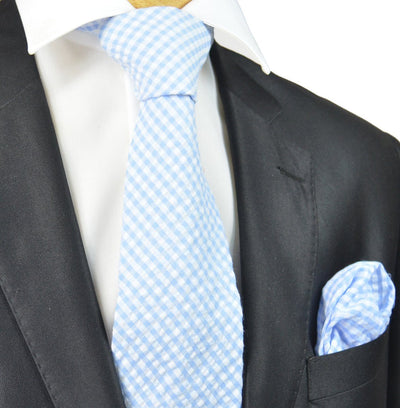 Lite Blue and White Gingham Cotton Tie Paul Malone Ties - Paul Malone.com