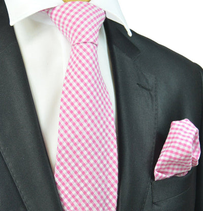 Pink and White Gingham Cotton Tie Paul Malone Ties - Paul Malone.com