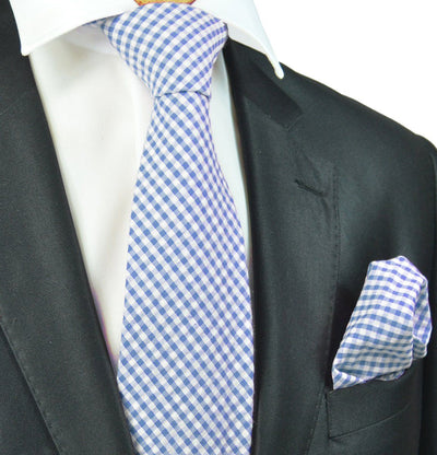 Blue and White Gingham Cotton Tie Paul Malone Ties - Paul Malone.com