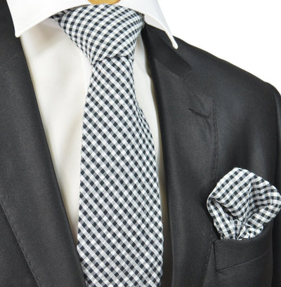 Black and White Gingham Cotton Tie Paul Malone Ties - Paul Malone.com
