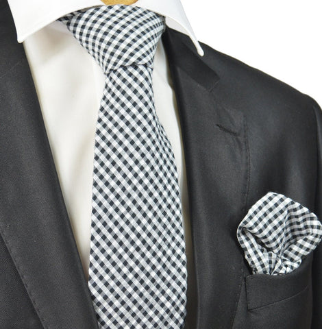 Brown and White Polka Dots Silk Tie Set