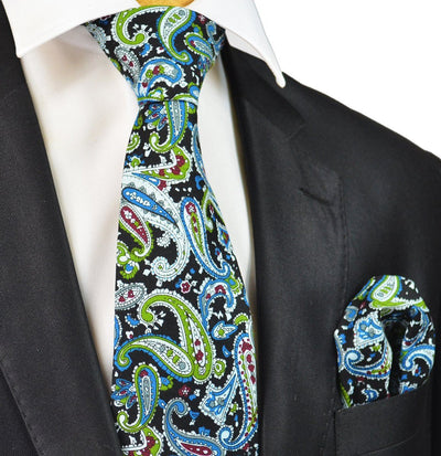 Black, Green and Blue Paisley Cotton Tie Paul Malone Ties - Paul Malone.com