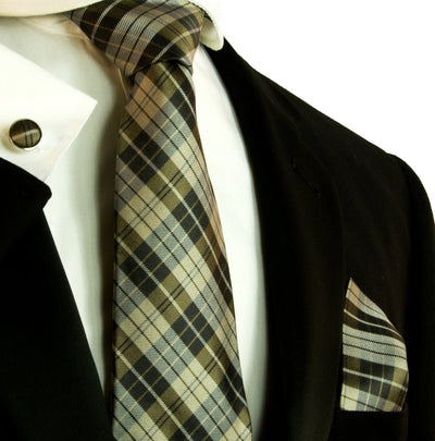 Teak Brown Plaid Silk Tie and Accessories Paul Malone Ties - Paul Malone.com