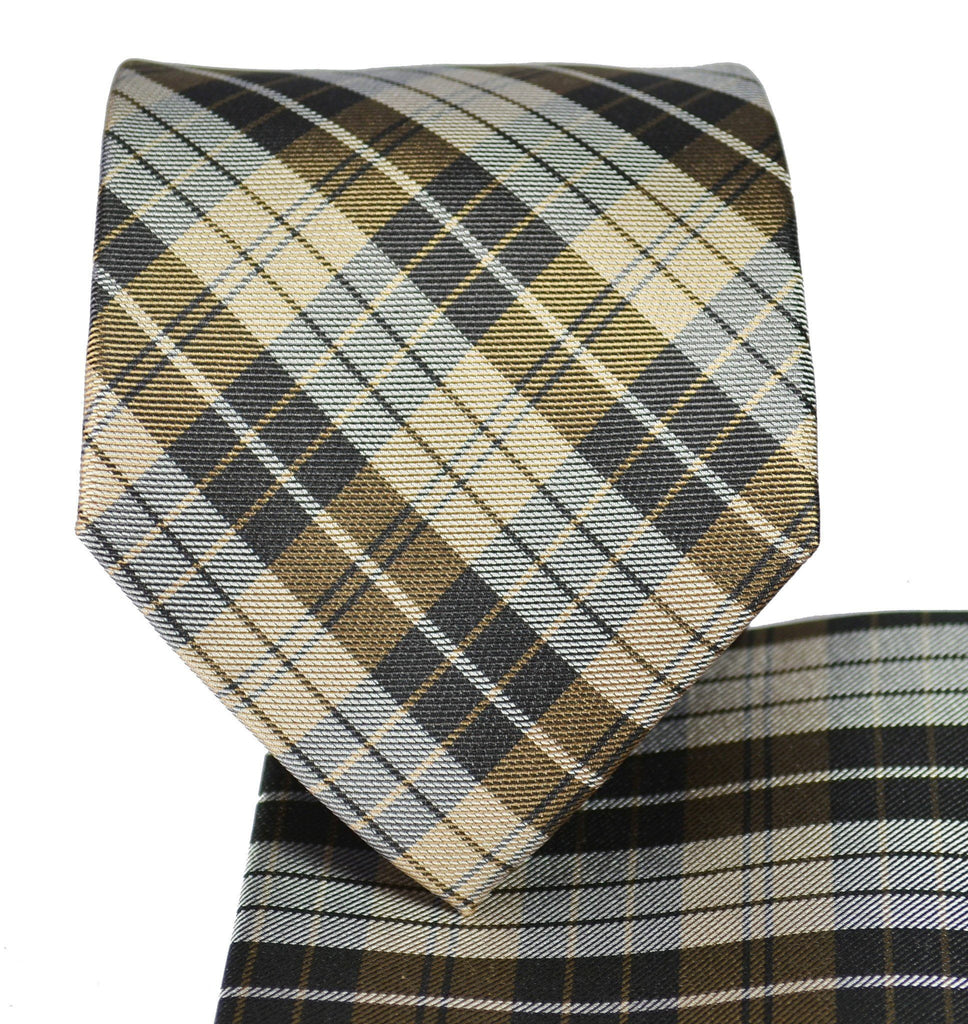 Men's Silk Tie in Teak Brown Plaids Paul Malone Ties - Paul Malone.com