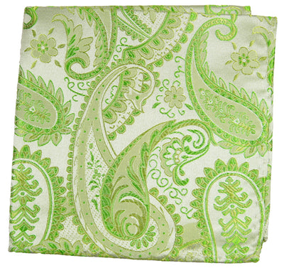 Green Paisley Silk Pocket Square Paul Malone  - Paul Malone.com