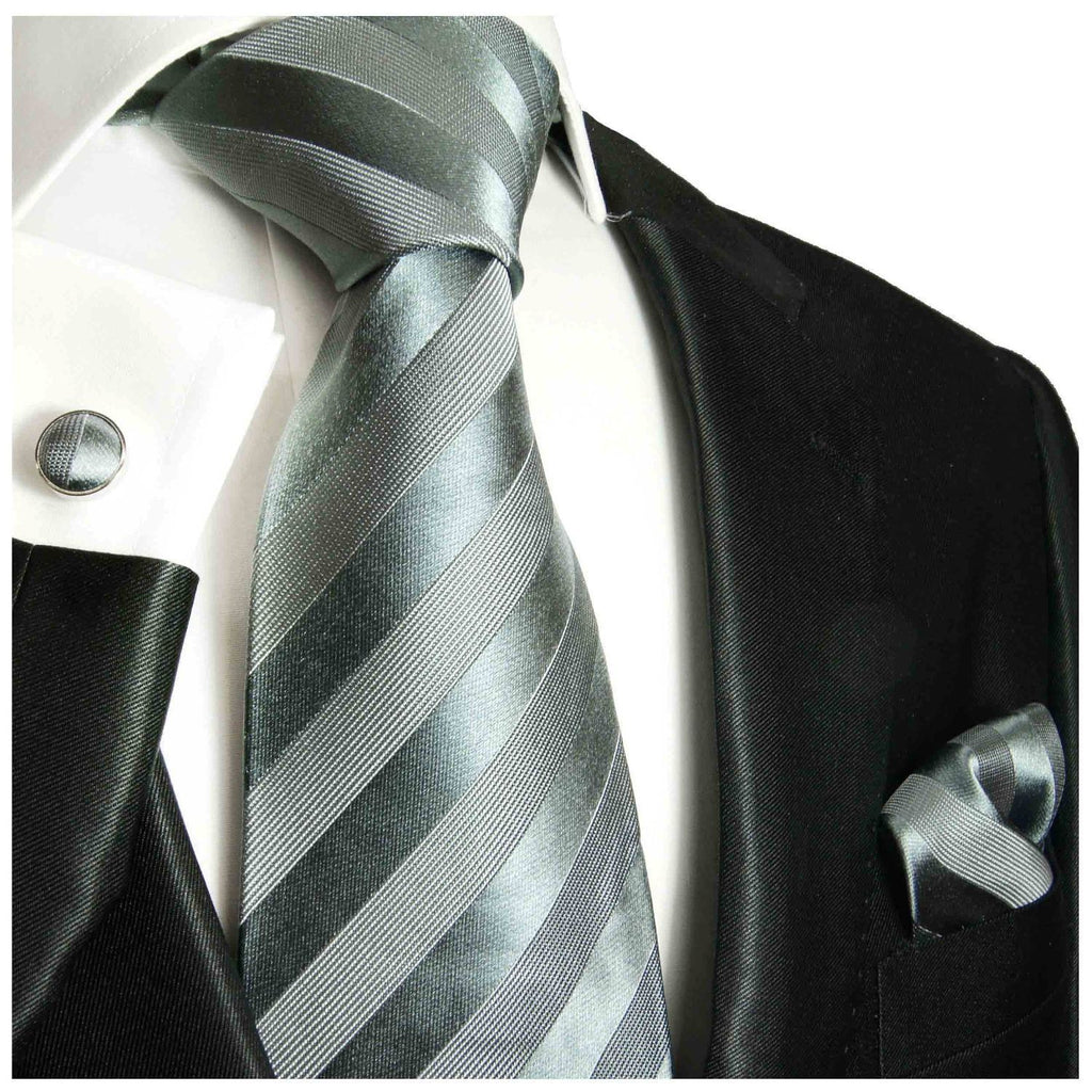 Formal Grey Tone on Tone Necktie Paul Malone Ties - Paul Malone.com