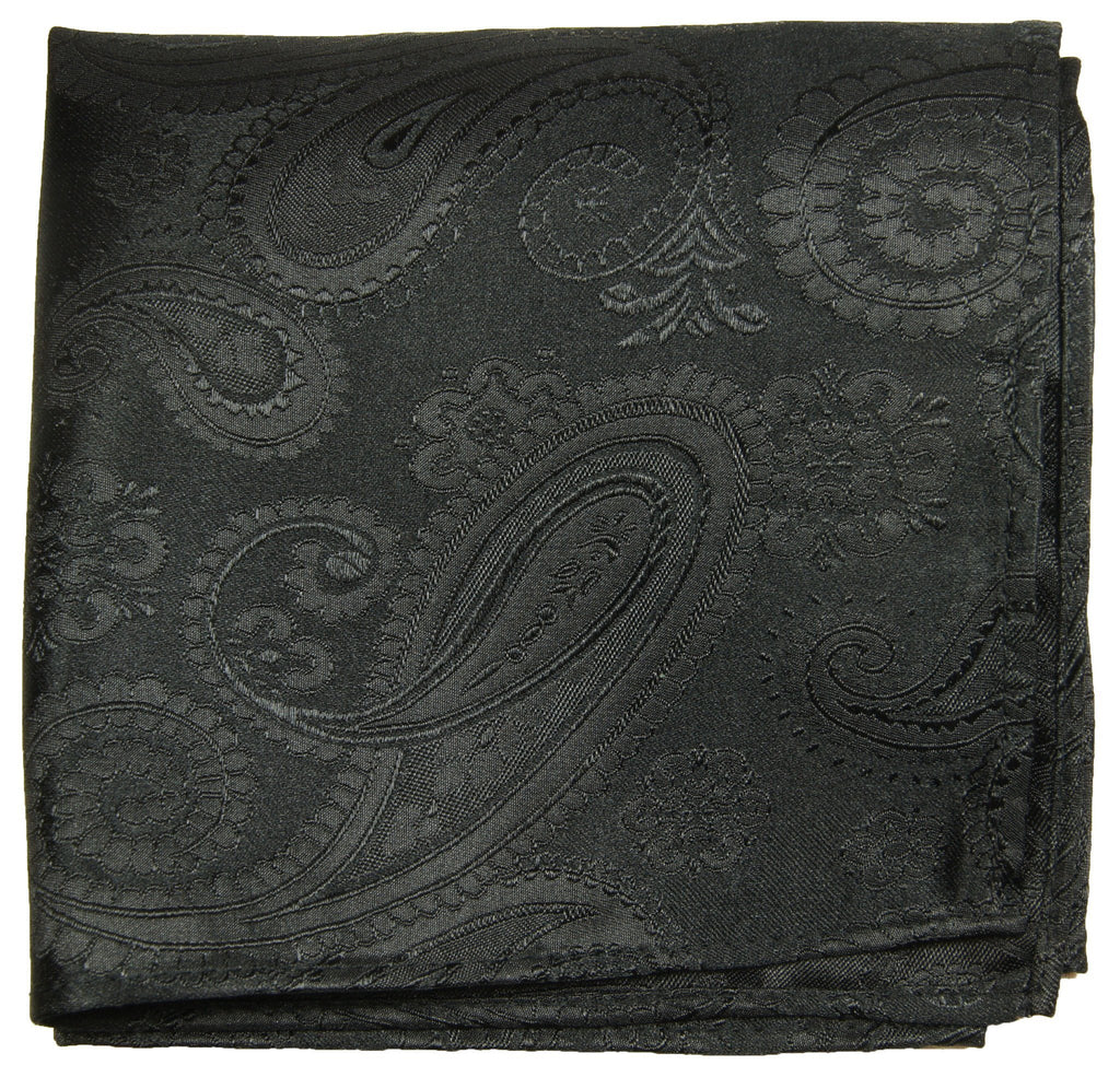 Black Paisley Silk Pocket Square Paul Malone  - Paul Malone.com