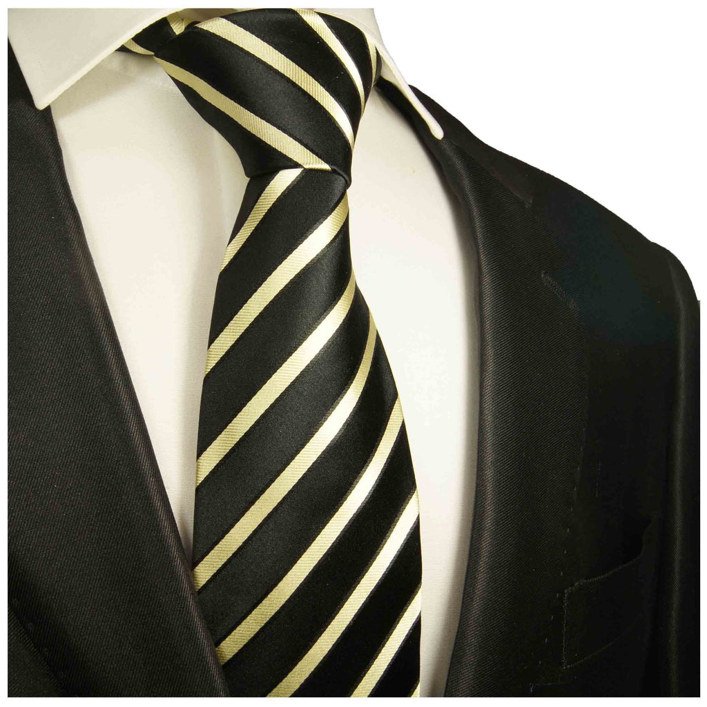 Black and Gold Striped Boys Silk Tie Ties Paul Malone