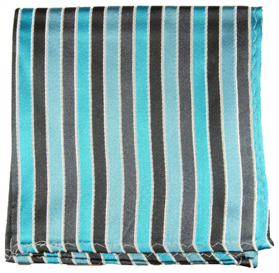 Turquoise Striped Silk Pocket Square Paul Malone  - Paul Malone.com