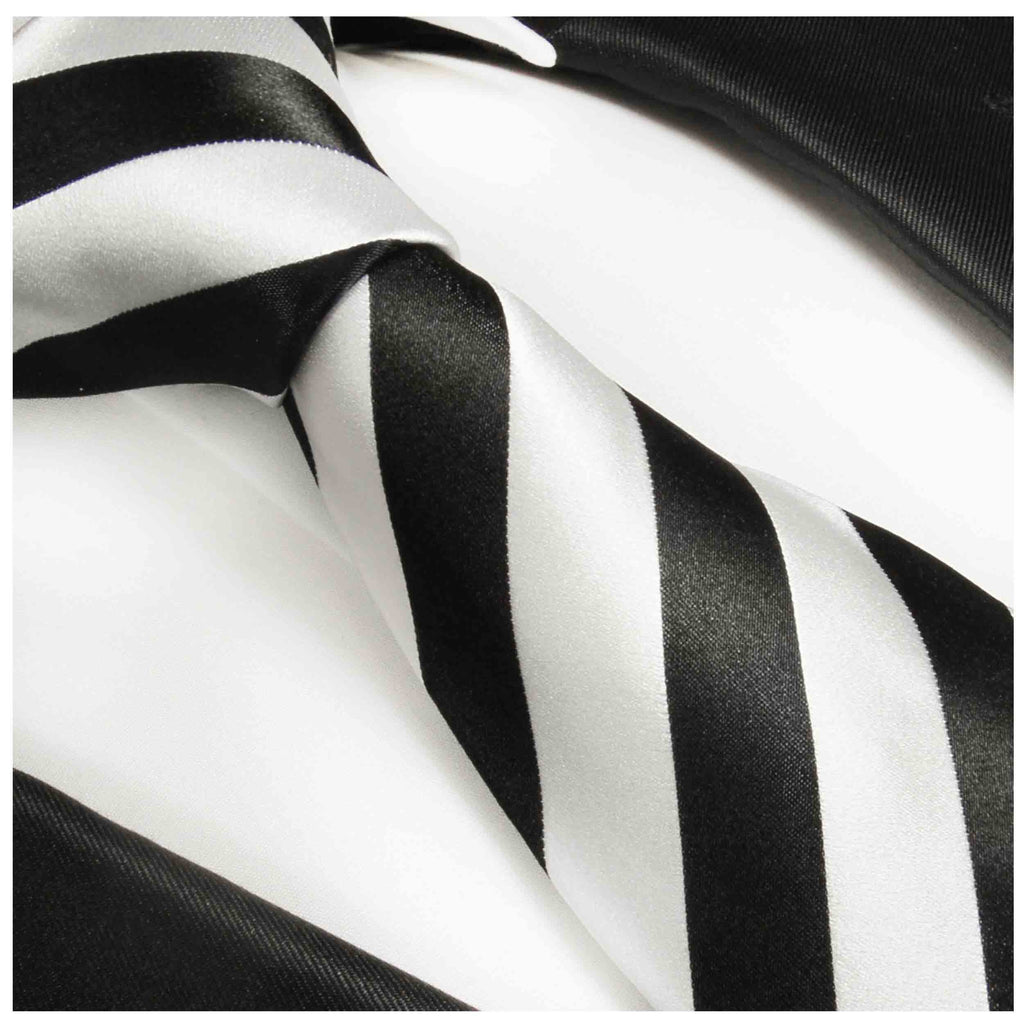 Black and Silver Striped Silk Tie and Accessories Ties Paul Malone