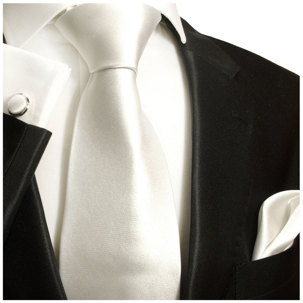 Classic White Silk Tie and matching Accessories Paul Malone Ties - Paul Malone.com