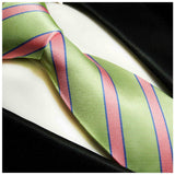 Mint and Pink Striped Silk Necktie Paul Malone Ties - Paul Malone.com