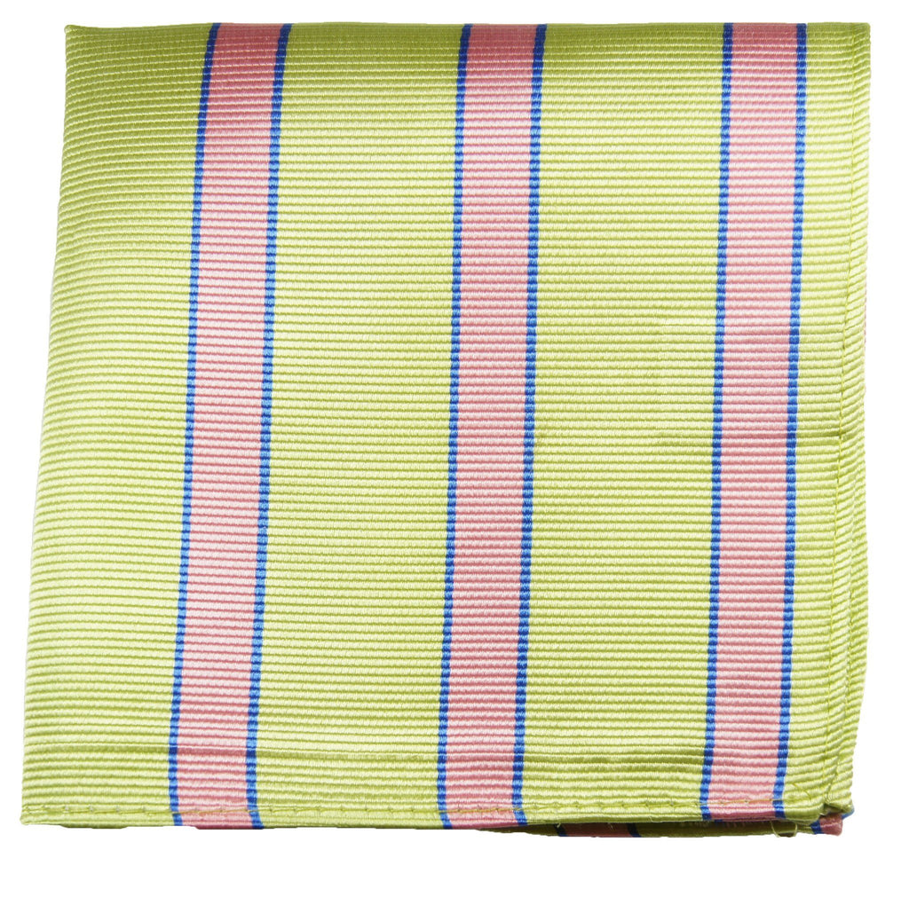 Green and Pink Striped Silk Pocket Square Paul Malone  - Paul Malone.com