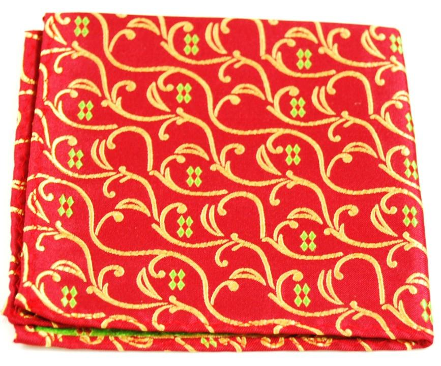 Red and Gold Vines Silk Pocket Square Paul Malone  - Paul Malone.com