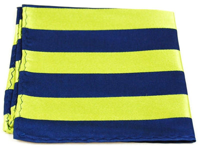 Navy and Green Striped Silk Pocket Square Paul Malone  - Paul Malone.com