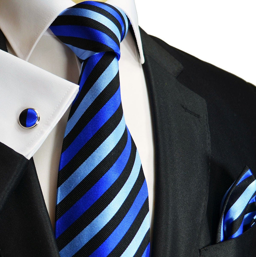 Blue and Black Striped Silk Tie Set by Paul Malone Paul Malone Ties - Paul Malone.com