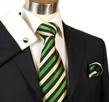 Green and Black Striped Silk Tie and Accessories Paul Malone Ties - Paul Malone.com