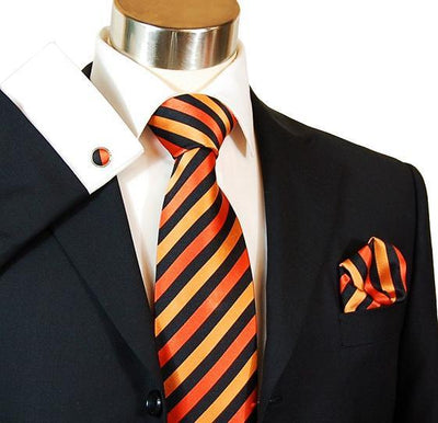 Orange and Black Striped Silk Tie Set by Paul Malone Paul Malone Ties - Paul Malone.com