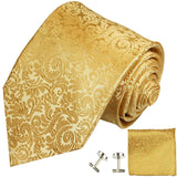 Gold Necktie, Pocket Square and Cufflinks Paul Malone Ties - Paul Malone.com