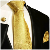 Gold Necktie, Pocket Square and Cufflinks Ties Paul Malone