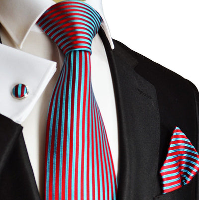 Red and Turquoise Striped Silk Necktie Set Paul Malone Ties - Paul Malone.com