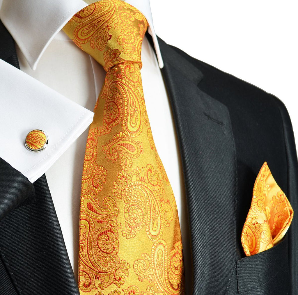 Extra Long Gold Paisley Paul Malone Silk Tie and Accessories Paul Malone Ties - Paul Malone.com