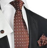 Brown and White Polka Dots Silk Tie Set Paul Malone Ties - Paul Malone.com