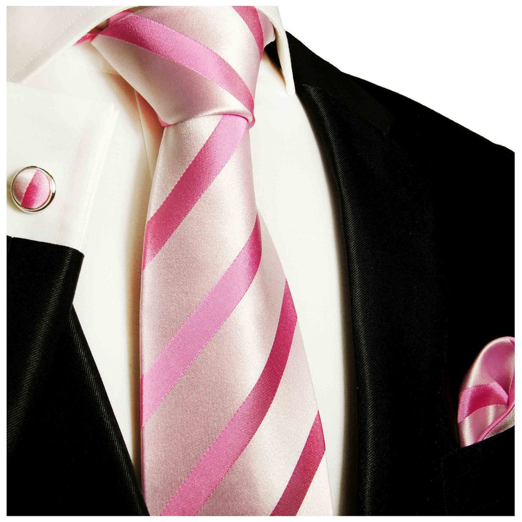 Satin Pink Striped Necktie by Paul Malone Ties Paul Malone