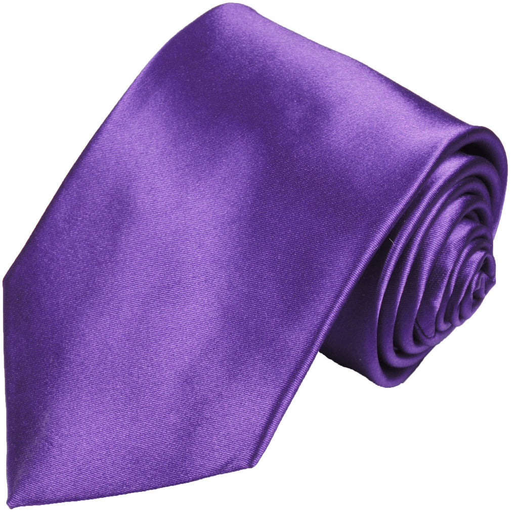 Silk Necktie Set by Paul Malone . Solid Purple Ties Paul Malone