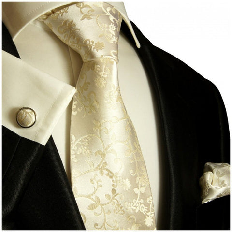 Gold and Black Silk Tie and Pocket Square