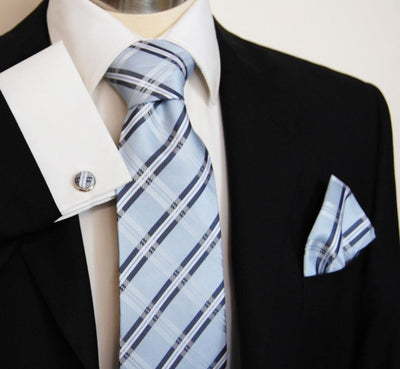 Blue Plaid Silk Tie and Accessories in Silk Paul Malone Ties - Paul Malone.com
