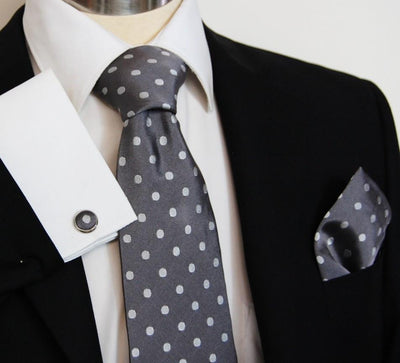 Grey with Silver Polka Dots Silk Tie and Accessories Paul Malone Ties - Paul Malone.com