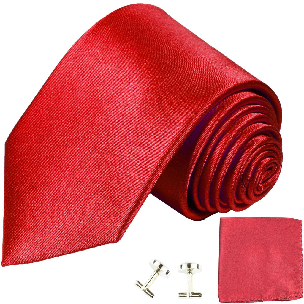 Solid Red Classic Tie with Accessories Ties Paul Malone