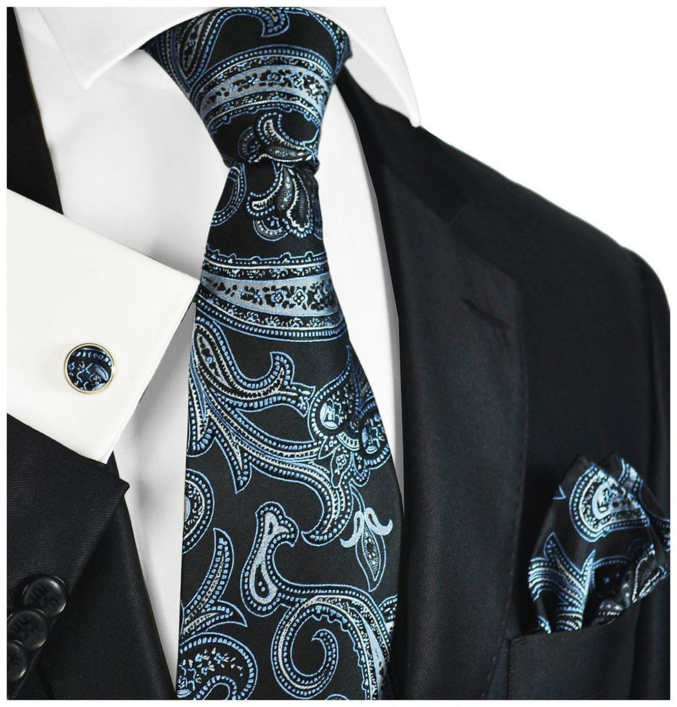 Black with Silver and Blue Paisleys Silk Tie and Accessories