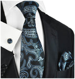 Black with Silver and Blue Paisleys Silk Tie and Accessories Paul Malone Ties - Paul Malone.com