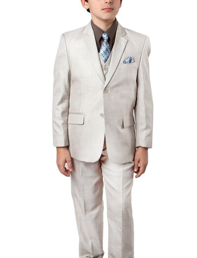 Lite Beige Sharkskin Boys Suit Set with Vest Tazio Suits - Paul Malone.com