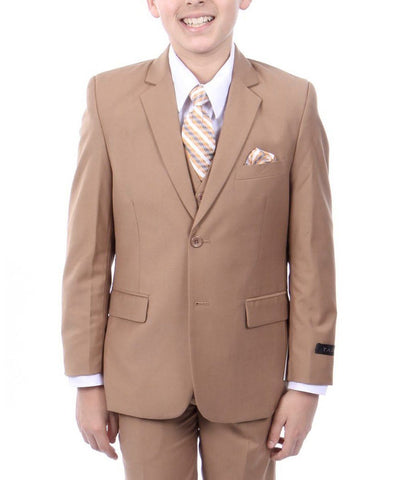 Camel Solid Boys Suit Set with Vest, Shirt, Tie Tazio Suits - Paul Malone.com