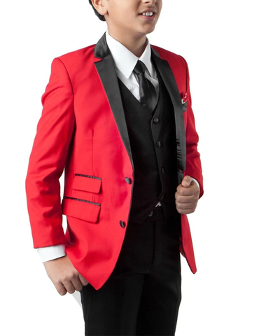 Formal Red and Black Boys Tuxedo Set Tazio Suits - Paul Malone.com