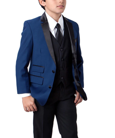 Formal Blue and Black Boys Tuxedo Set Tazio Suits - Paul Malone.com
