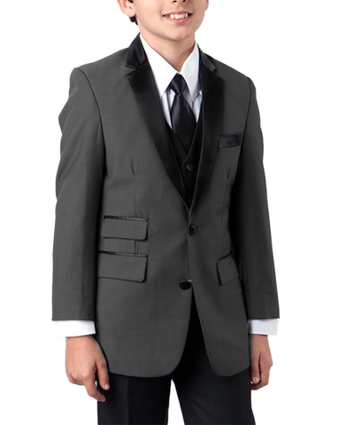 Formal Grey and Black Boys Tuxedo Set Tazio Suits - Paul Malone.com