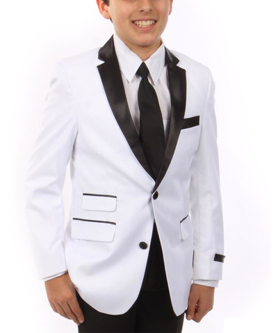 Formal White and Black Boys Tuxedo Set Tazio Suits - Paul Malone.com