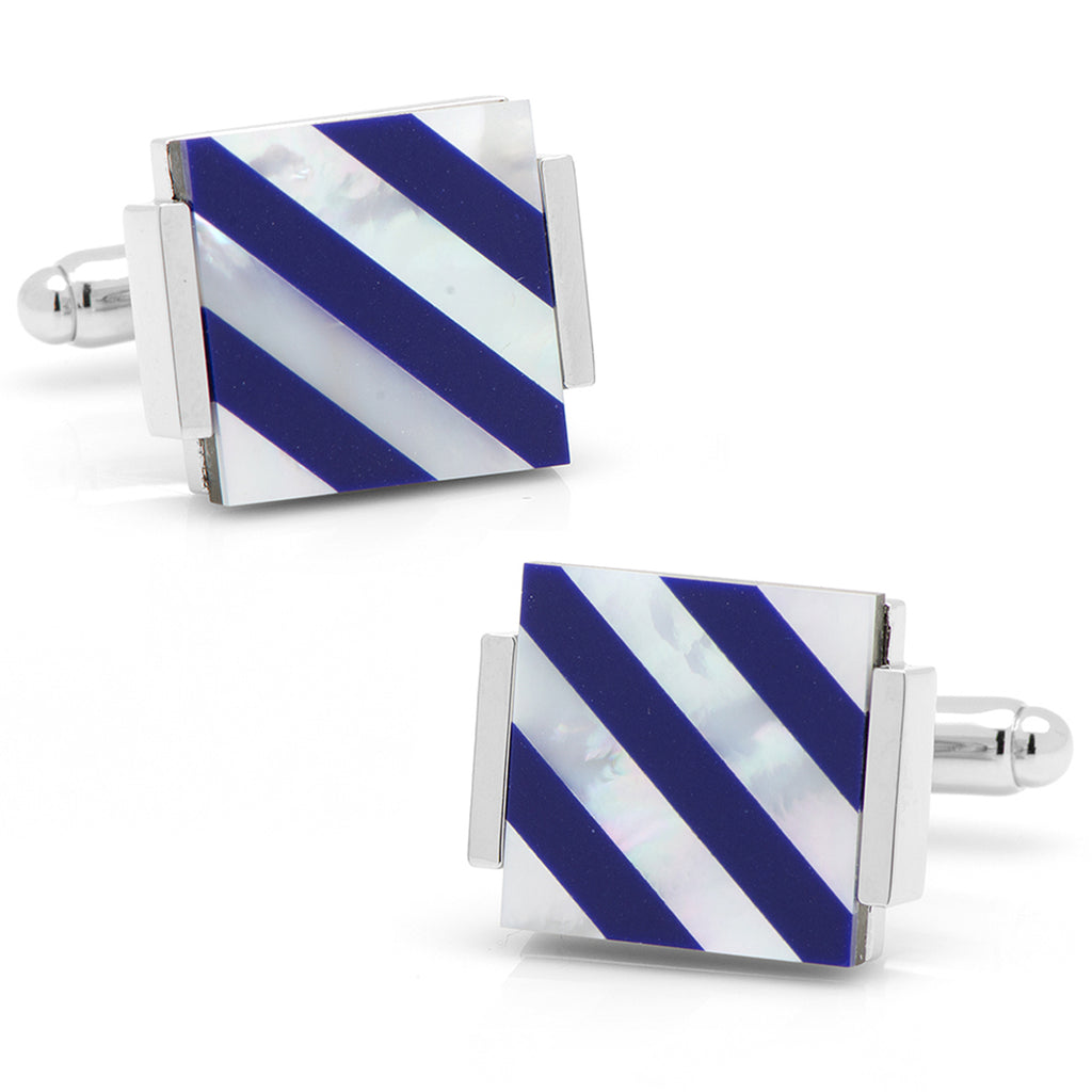 Floating Mother of Pearl Striped Cufflinks Ox & Bull Cufflinks - Paul Malone.com