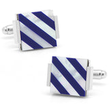 Floating Mother of Pearl Striped Cufflinks Cufflinks Ox & Bull