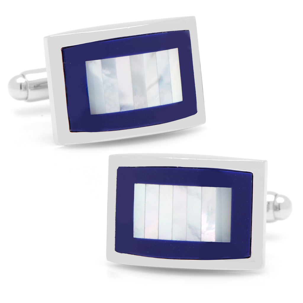 Mother of Pearl and Lapis Blue Key Cufflinks Ox and Bull Trading Co. Cufflinks - Paul Malone.com