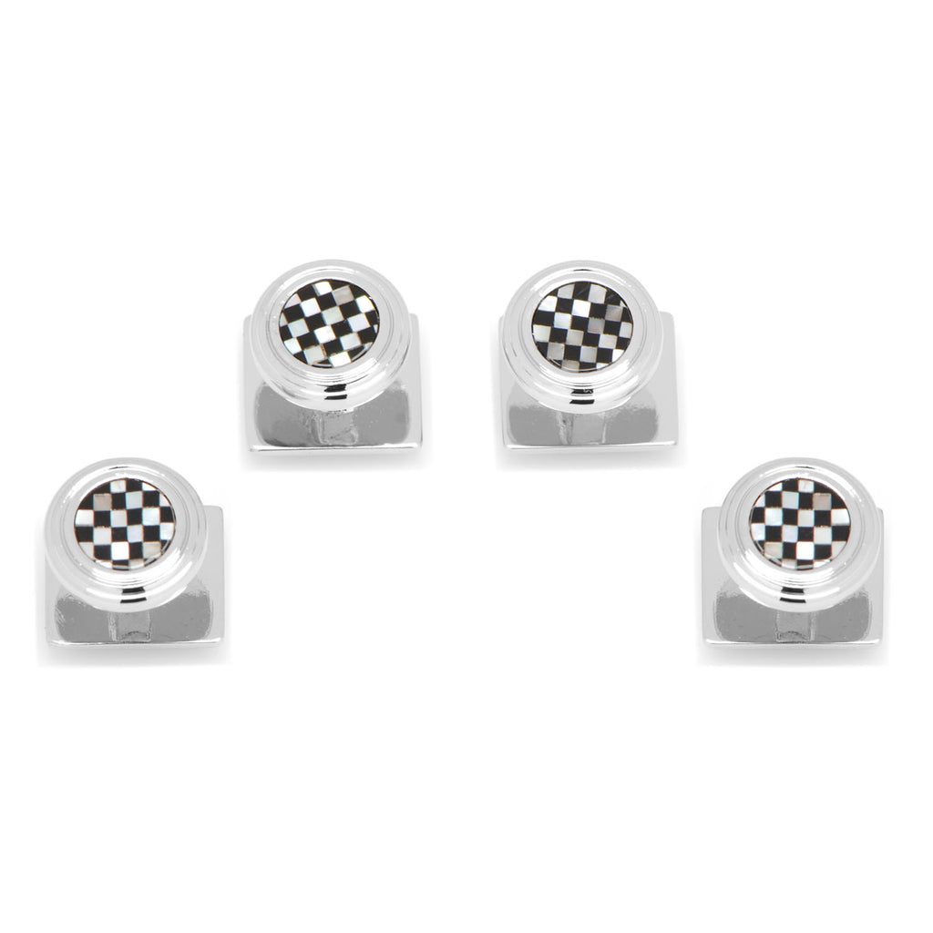 Onyx and Mother of Pearl Checker Step Studs Ox & Bull Studs - Paul Malone.com