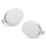 Stainless Steel Oval Step Engravable Cufflinks