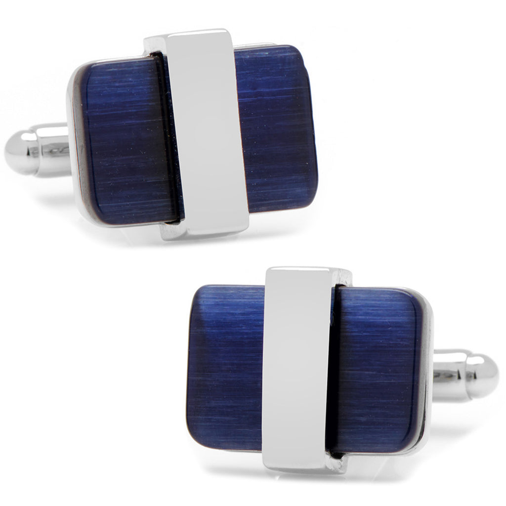Silver Wrapped Navy Blue Catseye Cufflinks Ox and Bull Trading Co. Cufflinks - Paul Malone.com