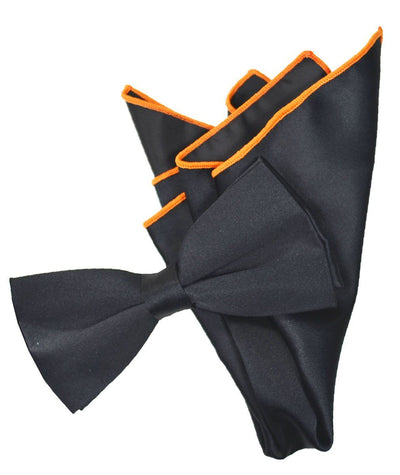 Solid Black Pre-Tied Bow Tie and Pocket Square Paul Malone Bow Ties - Paul Malone.com